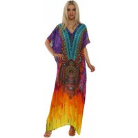 Ablaze Fever Silk Purple Crystal Maxi Kaftan
