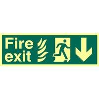 Fire Exit Arrow Down Glow In The Dark