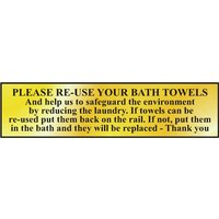Polished Gold Style Please Re-Use Bath Towels Sign