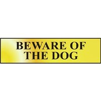 Polished Gold Style Beware of the Dog Sign