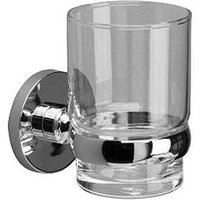 Lilly Chrome Bathroom Glass Tumbler and Holder