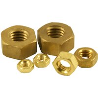 Pack of 10 Brass Hex Nuts Metric
