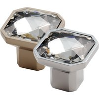 Crystal Glass Square Cupboard Knob 34mm