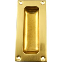 Flush Pull Handle Polished Brass 3.5in (89mm)