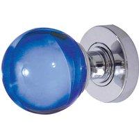 Blue Round Glass Door Knobs 60mm