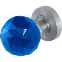 Blue Faceted Glass Door Knobs 60mm