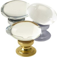 Clear Glass Oval Shaped Cupboard Knobs