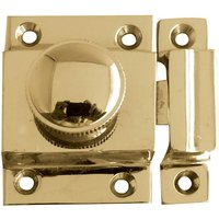 Turn Button Door Catch Polished Brass 56x36mm