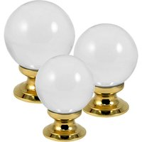 Clear Glass Ball Style Cabinet Knob Brass