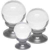 Clear Glass Ball Style Cabinet Knob Matt Chrome