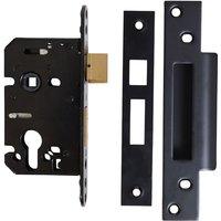 Kirkpatrick Black Plate Euro Mortice Lock