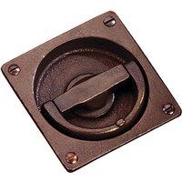 Traditionally Cast Bronze Flush Ring Door Handle 75x75mm