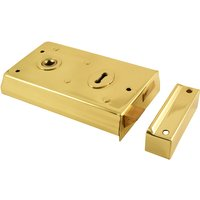 Brassed Rim Door Lock 138x75mm