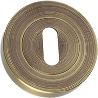 Brass Antiqued Finish Slotted Key Keyhole Cover 50mm