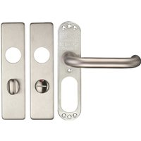 Satin Stainless Steel Lever with Bathroom Cover Plate 180x45mm