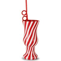 Plastic Candy Stripe Hurricane Cup with Krazy Straw 21.1oz / 600ml (Single) - Gadgets Gifts