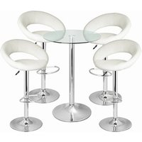 Click to view product details and reviews for Leather Crescent And Vetro Table Set White.