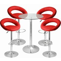 Click to view product details and reviews for Leather Crescent And Vetro Table Set Red.