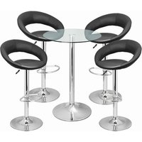 Click to view product details and reviews for Leather Crescent And Vetro Table Set Black.
