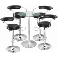 Click to view product details and reviews for Zenith Bar Stool And Vetro Table Set Black.