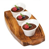 Utopia Acacia Wood Presentation Board & Anton Black Mini Elipse Bowls