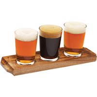 Utopia Acacia Wood Beer Flight with Beer Glasses - Alcohol Gifts