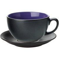 Utopia Barista Cappuccino Cup & Saucer Indigo 14oz / 400ml (Set of 6) - Indigo Gifts