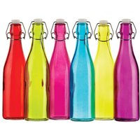 Colourworks Coloured Glass Storage / Water Bottles 500ml (Set of 6)