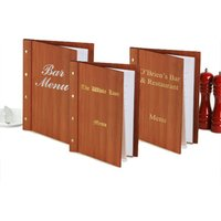 Custom Wood Effect Menu Cover A4 Cherry Wood (Set of 12) - Custom Gifts
