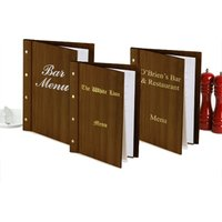 Custom Wood Effect Menu Cover A4 Mahogany (Set of 12) - Custom Gifts