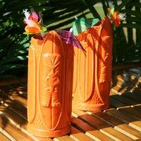 Surf Style Tiki Mug Orange 16oz / 470ml (Set of 4) - Orange Gifts