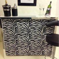 Zebra Print White Home Cocktail Bar - Zebra Print Gifts