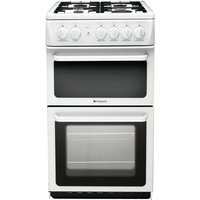 Hotpoint HAG51P 50cm Freestanding Gas Cooker in Polar White with FSD