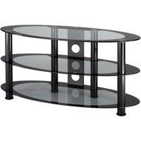 Alphason ATO800 Atoll Oval Universal Stand in Black with Grey Glass for Screens up to 37