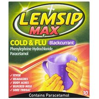 Lemsip Cold & Flu Max Strength (Blackcurrant) (10)