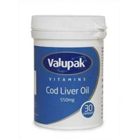 Valupak Vitamins Cod Liver Oil 550mg 30 Capsules