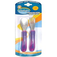 Griptight Stainless Steel Cutlery Set Pink/Purple 12+ Months