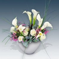 Callas and Roses in a Vase