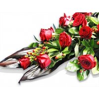 Luxury Red Rose Funeral Casket Spray