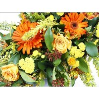 Single Ended Orange Flowers Funeral Spray
