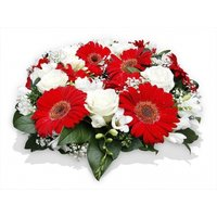 Red and White Funeral Posy