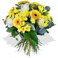 Gerbera, Fressias and Roses Bouquet