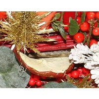 Christmas Table Arrangement with Red Candles