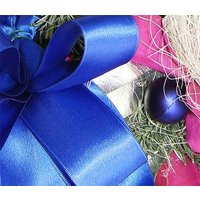 Blue Ribbon and Baubles Christmas Wreath