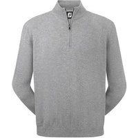 FootJoy Mens Lambswool 1/2 Zip Pullover - Light Grey Small