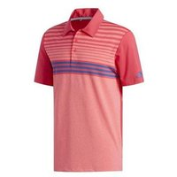 Adidas Ultimate 365 3-stripe Heathered Golf Polo - Red/pink/navy Mens Medium Red
