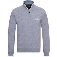 Oscar Jacobson Brett Tour Half Zip Sweater - Light Grey Medium