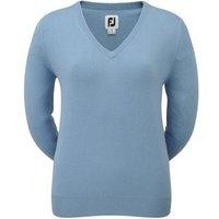 FootJoy Ladies Lambswool V-Neck Pullover - Light Blue