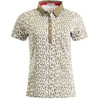 Frances Printed Polo Ladies 10 Khaki/White