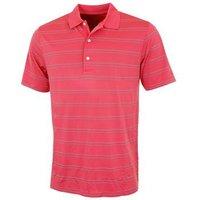 Greg Norman Seasonal Micro Pique Stripe Polo Shirt - Coral Large